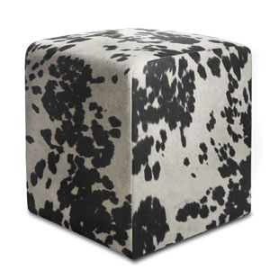 Cow Print Textured Velvet Square Ottoman (OFS)