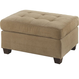 Waffle Suede Cocktail Ottoman - Khaki F7121(PX)