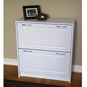 4D Concepts Deluxe Double Shoe Cabinet in White 76455(FDFS