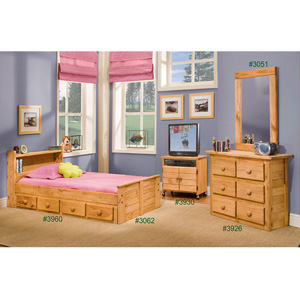Solid Wood Twin Size Mates Bed 3062(PC)