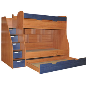 Custom Made Loft Bed With Stairs G-_50/Trundle (VF)