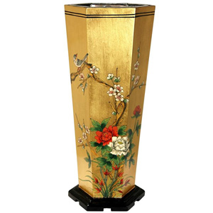 Elm Wood Gold Leaf Umbrella Stand 13439343(OFS205)
