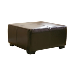 Square Dark Brown Bi-cast Leather Ottoman OMY0524(OFS)