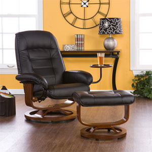 Black Bonded Leather Recliner and Ottoman UP1303RC (SEIFS)