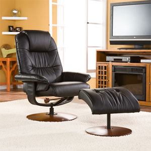 Black Bonded Leather Recliner and Ottoman UP4903RC (SEIFS)