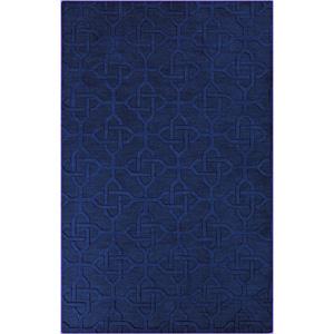 Hand-crafted Viburnum Solid Blue Geometric Wool Rug Viburnum