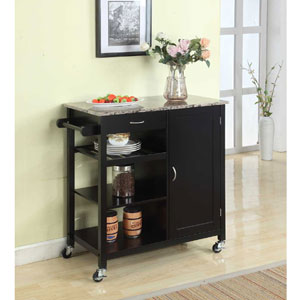 Wood & Marble Finish Top Kitchen Storage Cabinet Cart Y05-BL