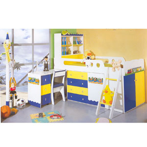 Twin Size Train Theme Loft Bed C02(PF)
