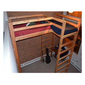 Any Size L-Shaped Loft Bed Solid Wood 1000 Lbs.Wt Capacity